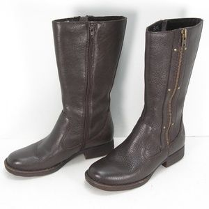 BORN BROWN LEATHER SIDES ZIP STUDS BOOTS 8.5 M